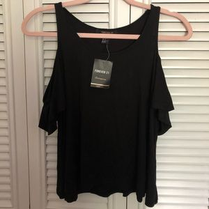 Forever 21 Black Cold-shoulder top